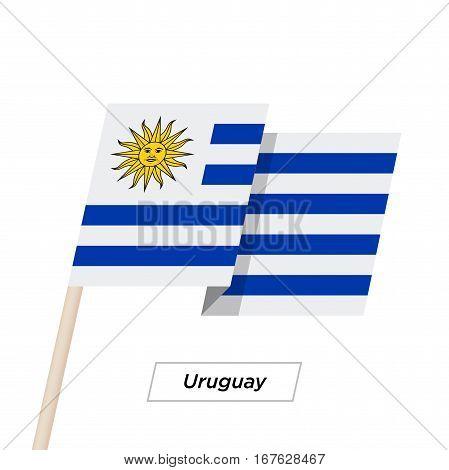 Uruguay Ribbon Waving Flag Isolated on White. Vector Illustration. Uruguay Flag with Sharp Corners
