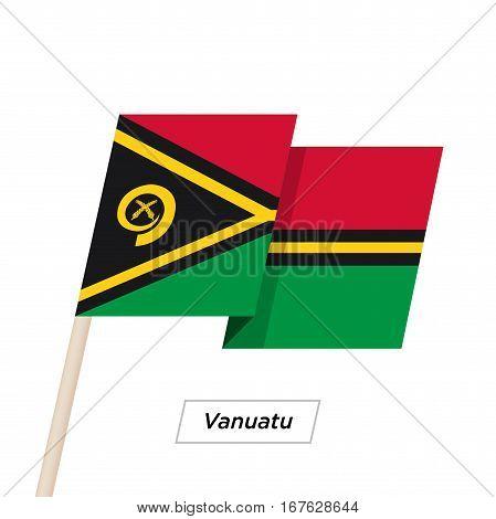 Vanuatu Ribbon Waving Flag Isolated on White. Vector Illustration. Vanuatu Flag with Sharp Corners