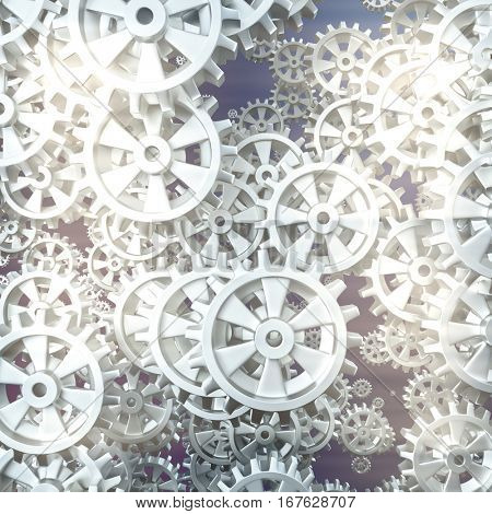 White gears and cogs macro on black background. 3D