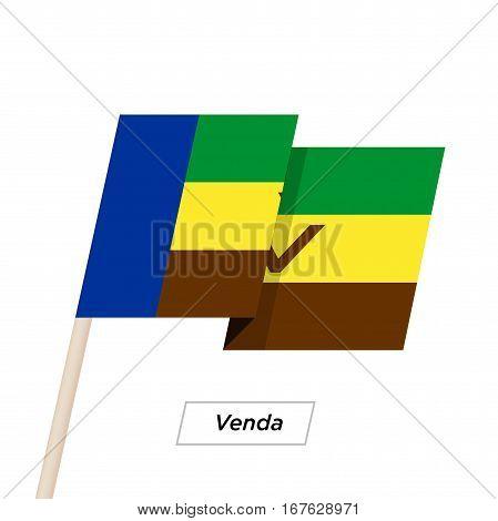 Venda Ribbon Waving Flag Isolated on White. Vector Illustration. Venda Flag with Sharp Corners