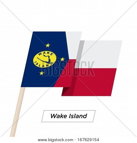 Wake Island Ribbon Waving Flag Isolated on White. Vector Illustration. Wake Island Flag with Sharp Corners