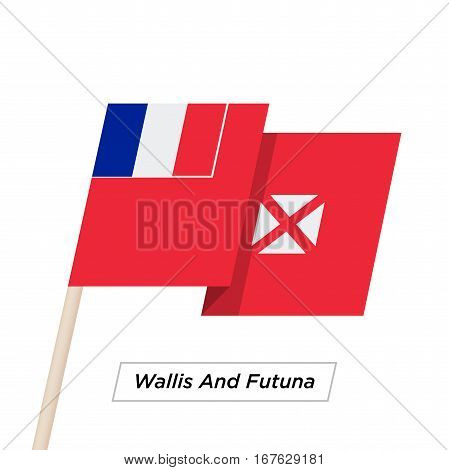 Wallis and Futuna Ribbon Waving Flag Isolated on White. Vector Illustration. Wallis and Futuna Flag with Sharp Corners