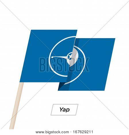 Yap Ribbon Waving Flag Isolated on White. Vector Illustration. Yap Flag with Sharp Corners