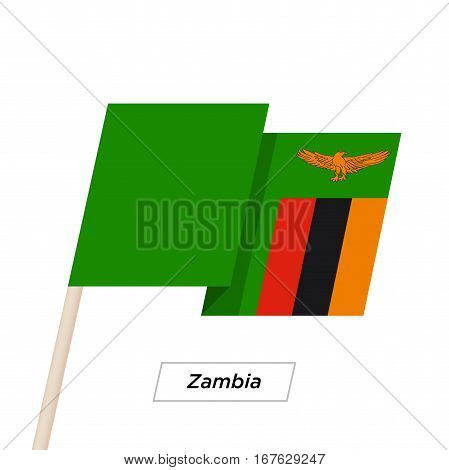 Zambia  Ribbon Waving Flag Isolated on White. Vector Illustration. Zambia Flag with Sharp Corners