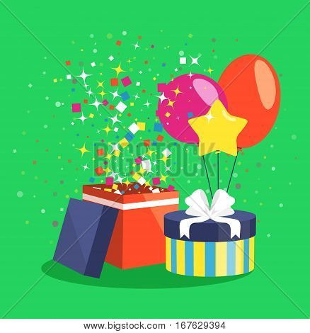 Air Ball Balloon Giftbox Gift and Confetti on Green Backgound