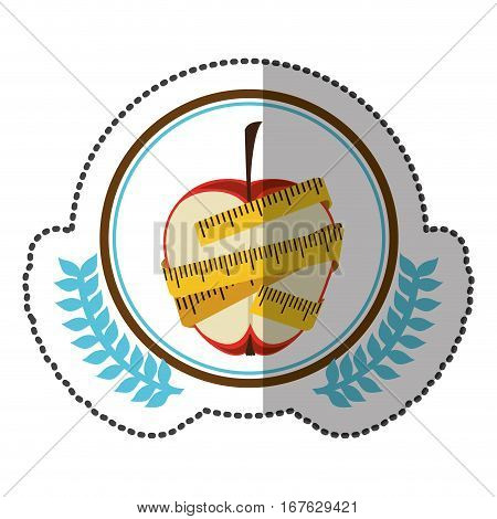 middle shadow sticker colorful with olive crown with middle apple with tape measure around in circle vector illustration
