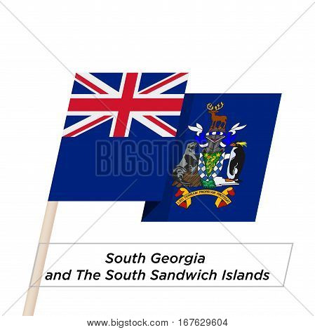 South Georgia and South Sandwich Islands Ribbon Waving Flag Isolated on White. Vector Illustration. South Georgia and South Sandwich Islands Flag with Sharp Corners