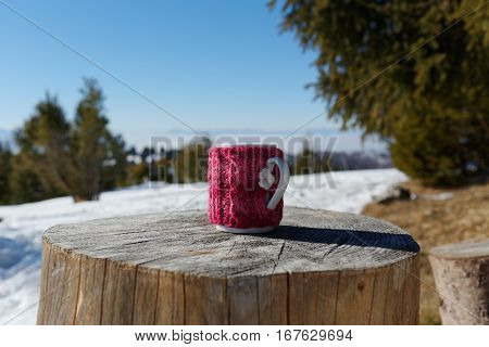Tea Mug On Wooden Stump During Winter. Coffee break outdoors. Knitted Mug Cozy.