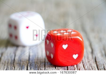 Dice love heart Valentine's day abstract background concept