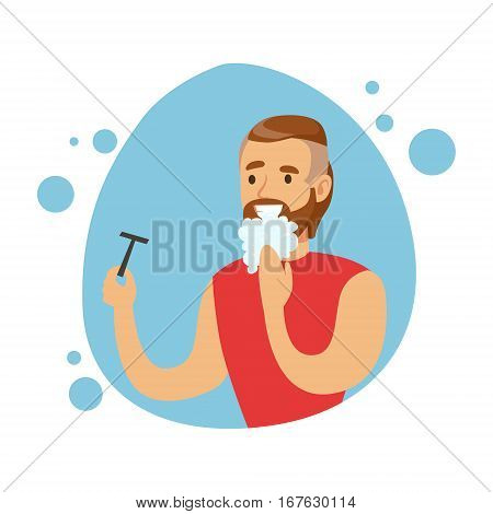 Man Shaving Beard, Part Of People In The Bathroom Doing Their Routine Hygiene Procedures Series. Person Using Lavatory Room For The Daily Washing And Personal Cleanup Vector Illustration.