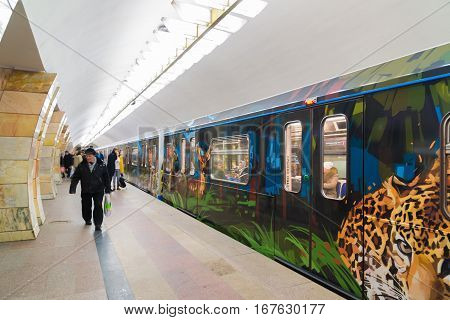 Moscow, Russia - January 20.2017. Train dedicated to tigers and leopards on the subway station Serpukhovskaya