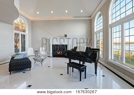 Luxury High Ceiling Living Room With Marble Floor
