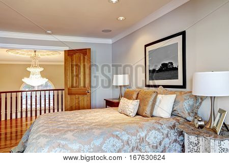 Chic Master Bedroom Interior With Queen Bed