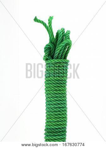 close up green nylon rope isolated on white background