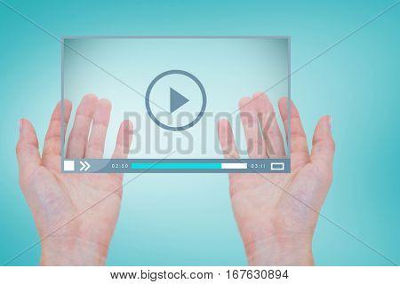 hands against blue vignette background 3d