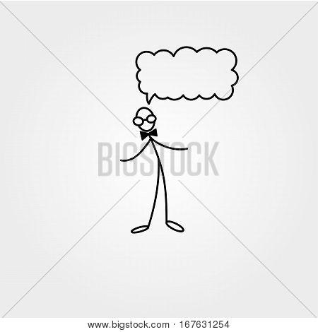 Stick figure man with glasses, Stickman vector drawing on white background
