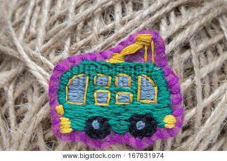 Homemade Embroidered Trolleybus On A Thread Ball