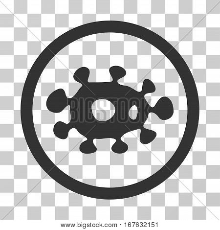 Virus rounded icon. Vector illustration style is flat iconic symbol inside a circle gray color transparent background. Designed for web and software interfaces.