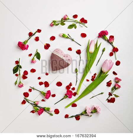 Love Concept - Creative Valentines Day Arrangement with Natural Flower and Heart. Wedding Day. Minimal Love Concept. Top View. Flat Lay