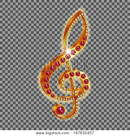 Golden musical treble clef with precious stones. Isolated object with a glow around the edges, can be used with any image or text.
