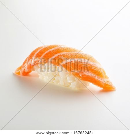 Japanese Sushi - Sake Nigiri Sushi (Salmon Sushi) on White Background
