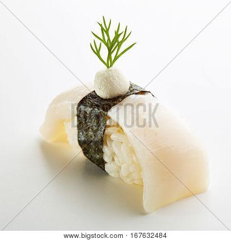 Japanese Sushi - Hotate Nigiri Sushi (Scallop Sushi) with Cream Cheese on White Background
