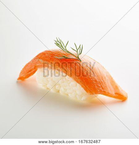 Japanese Sushi - Sake Nigiri Sushi (Smoke Salmon Sushi) on White Background
