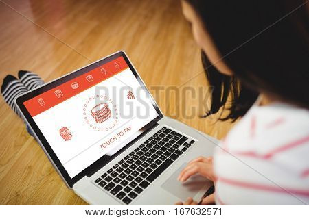 Web against side view of woman using laptop