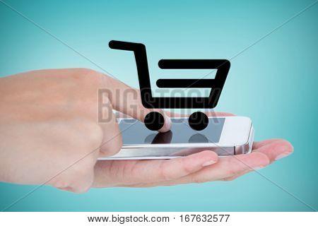 Hands showing smartphone against blue vignette background
