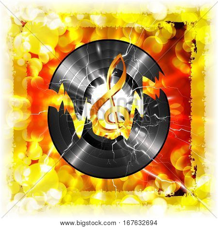 Musical vinyl record and a treble clef on a bright background with the flash. Image exercising on a white background, without edges, can be used with any background or text.