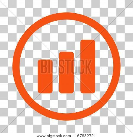 Bar Chart Increase rounded icon. Vector illustration style is flat iconic symbol inside a circle orange color transparent background. Designed for web and software interfaces.