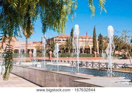 fountains in front of Palace of Congress in Ouarzazate