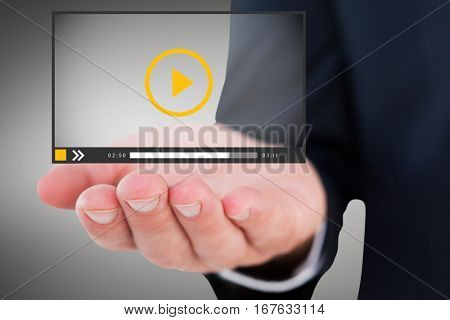 Mid section of a businessman with hands out against grey vignette 3d