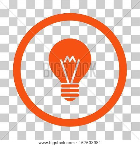 Hint Bulb rounded icon. Vector illustration style is flat iconic symbol inside a circle orange color transparent background. Designed for web and software interfaces.