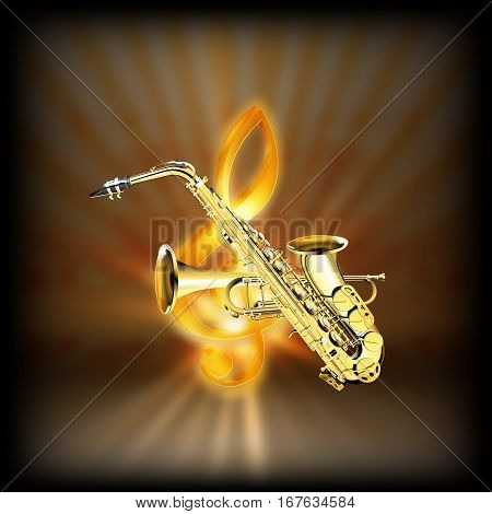 Trumpet and Saxophone on a blurred background of golden treble clef with flash. Achieved with a black background can be used with any image or text.