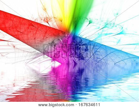 Rainbow. Abstract background, fractal design over water reflection. cosmic and fantasy backdrop