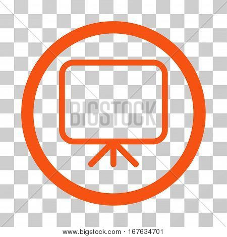 Presentation Screen rounded icon. Vector illustration style is flat iconic symbol inside a circle orange color transparent background. Designed for web and software interfaces.