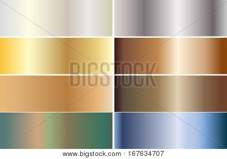 Set of banners made of precious metals. Gold silver bronze platinum steel. Vector illustration
