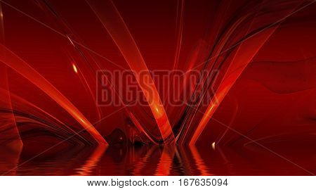Abstract background, fractal design over water reflection. cosmic and fantasy backdrop