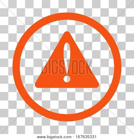 Warning Error rounded icon. Vector illustration style is flat iconic symbol inside a circle orange color transparent background. Designed for web and software interfaces.