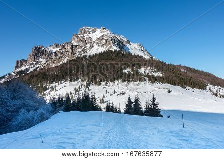 Stony Big Rozsutec hill - amazing winter landscape with clear blue sky. National Park Little Fatra hills Slovakia Europe