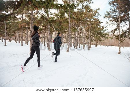 View of a young fitness couple running in the forest in winter