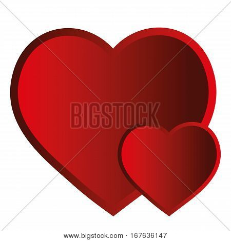 Valentine two red hearts on a white background. Isolated object vector