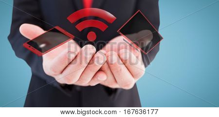 Businessman presenting with his hands against blue background 3d