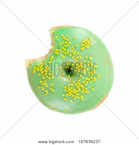 Bitten Donut Isolated On White Background.