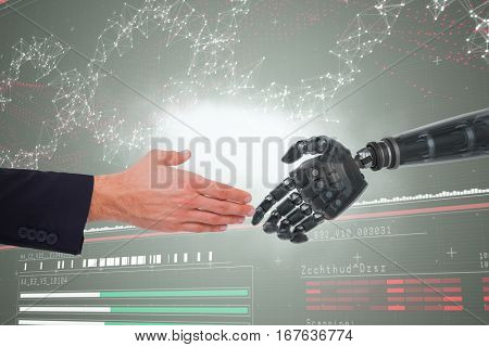 Close up of businessman offering handshake against genes diagram on darkred background