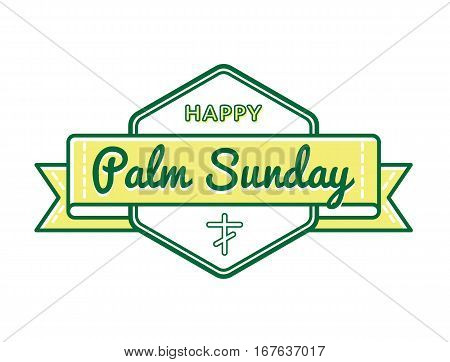 Palm Sunday emblem isolated vector illustration on white background. 9 april world christian religious holiday event label, greeting card decoration graphic element