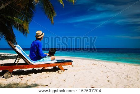 remote work -man with laptop on tropical beach