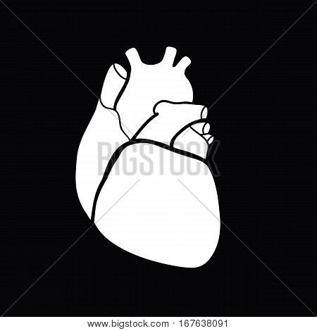 Schematic representation of the human heart. White image on a black background