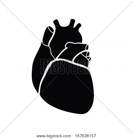 Schematic representation of the human heart. A black image on a white background